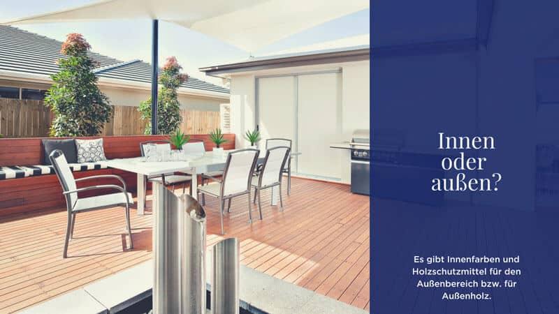 Innenfarben und Holzschutzmittel für den Außenbereich bzw. für Außenholz